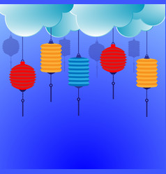 chinese lantern with clouds background vector image