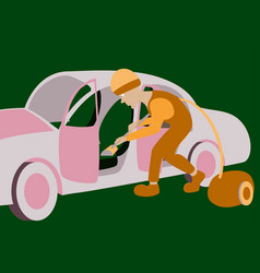 Cleaning car interior worker vector