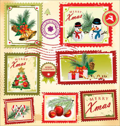 Collection of christmas post stamps vector image vector image