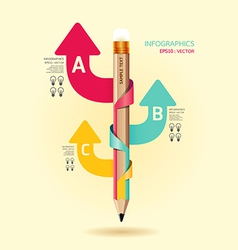 Creative template with pencil ribbon arrow banner vector