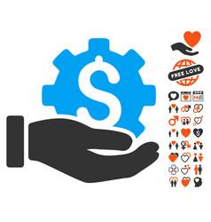 Development service icon with love bonus vector