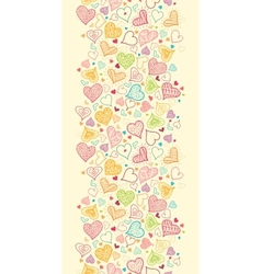Doodle Hearts Vertical Seamless Pattern Background vector image vector image