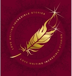 emblem writer s feather vector image vector image