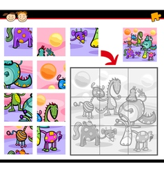 Fantasy characters jigsaw puzzle game vector