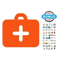 First aid case icon with 2017 year bonus vector