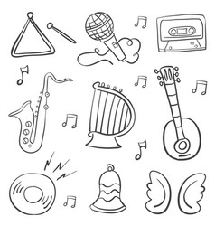 Hand draw musical instrument doodles vector