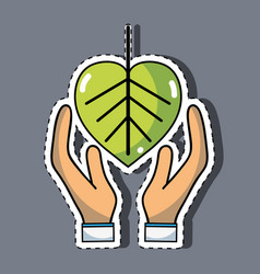 Hand with natural leaf to environment care vector