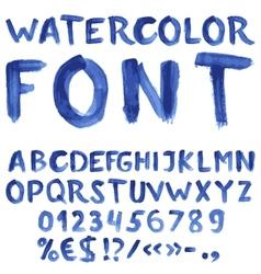 Handwritten blue watercolor alphabet vector image