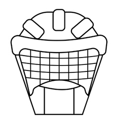 Hockey protective helmet icon outline style vector
