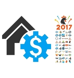 House rent options icon with 2017 year bonus vector