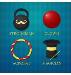 icons circus artists vector image