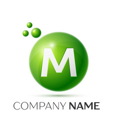 M letter splash green dots and bubbles number vector
