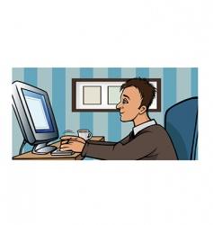 man computer blogging vector image vector image