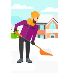 Man shoveling and removing snow vector