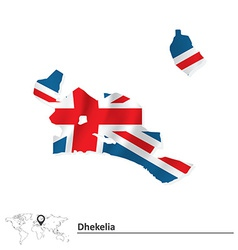 Map of dhekelia with flag vector