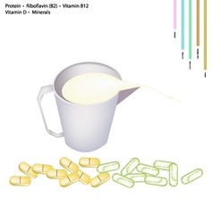 Milk with protein riboflavin vitamin b12 and d vector