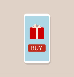 online gift concept smartphone with gift box vector image vector image