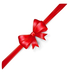 Red bow with gold strips vector image