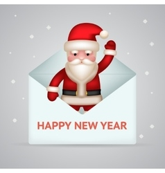 Santa claus with giftbox new year merry christmas vector