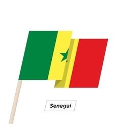 Senegal ribbon waving flag isolated on white vector