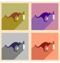 Set of flat icons with long shadow kangaroo boxer vector
