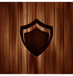 Shield protection icon Wooden texture vector image