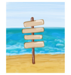 signpost in the seashore and sea vector image