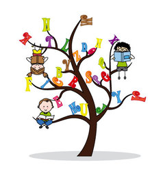 Tree with the alphabet and children reading vector