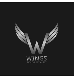 Wings W letter logo vector image vector image