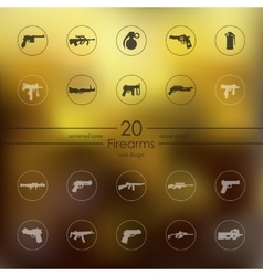 Set of firearms icons vector