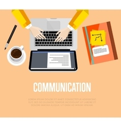 Communication concept top view office workspace vector