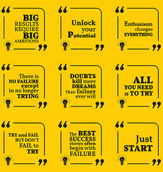 Set of motivational quotes about potential vector