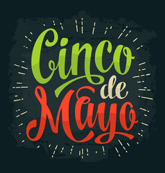 Cinco de mayo lettering color vintage vector