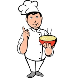 Cartoon chef cook with bowl of soup vector