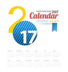 2017 calendar Happy New Year background Greeting vector image