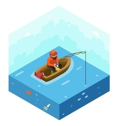 Fisherman with fishing rod polygonal character in vector