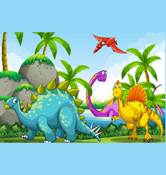 Dinosaurs living in the jungle vector
