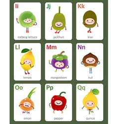 Printable flashcard english alphabet from i to q vector