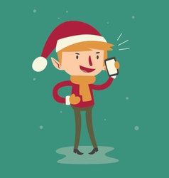 Cartoon elf talking on the phone vector
