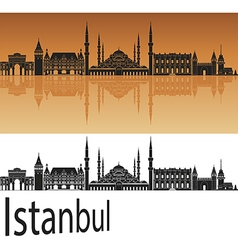 Istanbul skyline in orange vector image