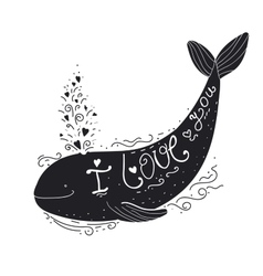 I love you quote cartoon whale vector
