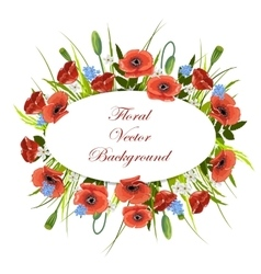 Holiday background with flowers and oval label vector