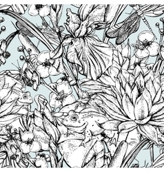 Vintage monochrome pond water flowers vector