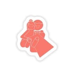 Paper sticker on white background bride and groom vector