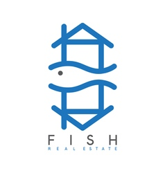 abstract design template of fish real estate vector image vector image