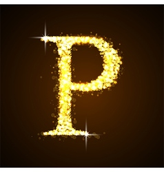Alphabets p of gold glittering stars vector