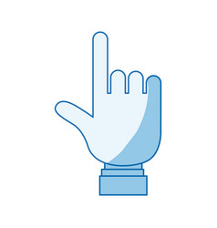 Blue color shading silhouette hand pointing to vector