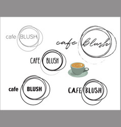 Cafe coffee shop round logo collection vector
