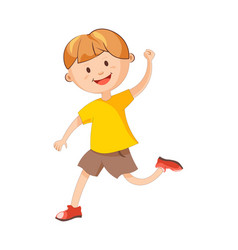 Cheerful boy runs with raised hand isolated vector