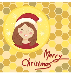 Circle christmas girl bee hive vector